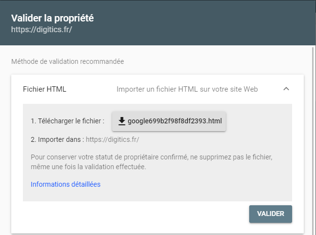 page de validation de Google Search Console
