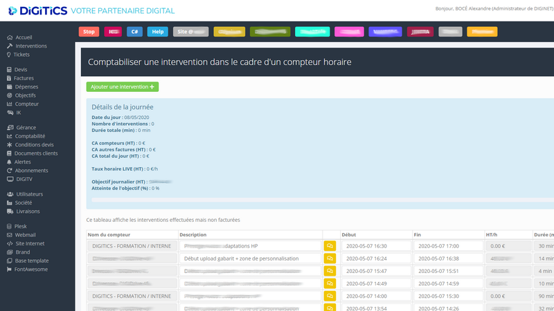digitics intranet détails interventions