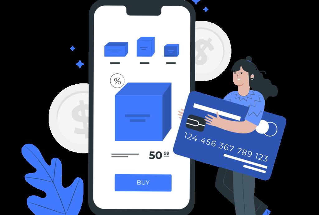 illustration achat boutique en ligne paiement carte bancaire
