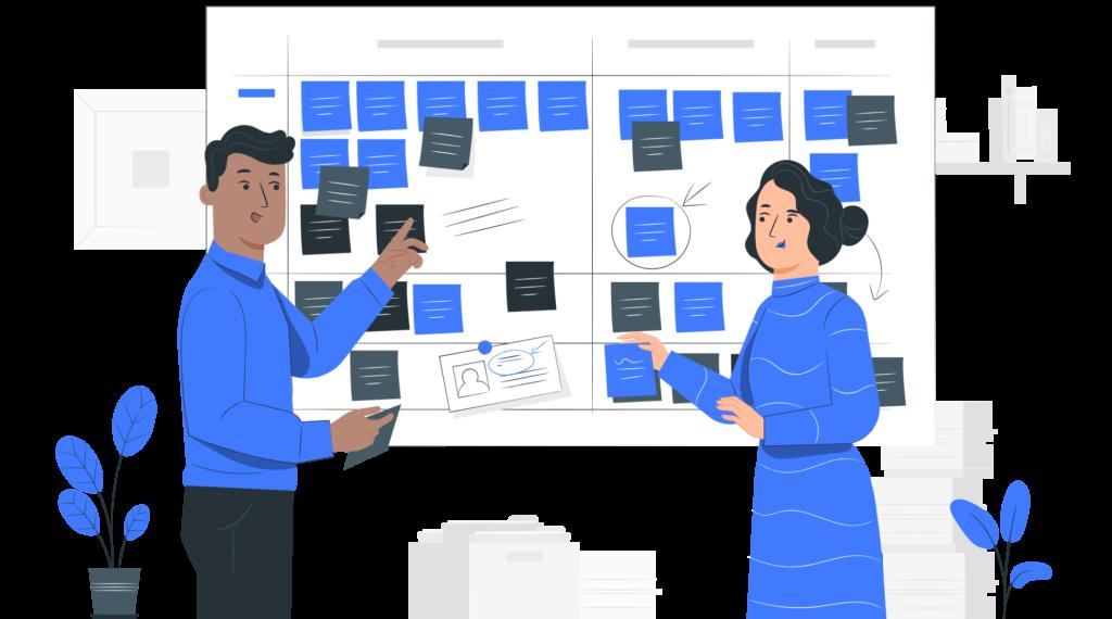Illustration du concept de planning détaillé pour la conception de livre blanc