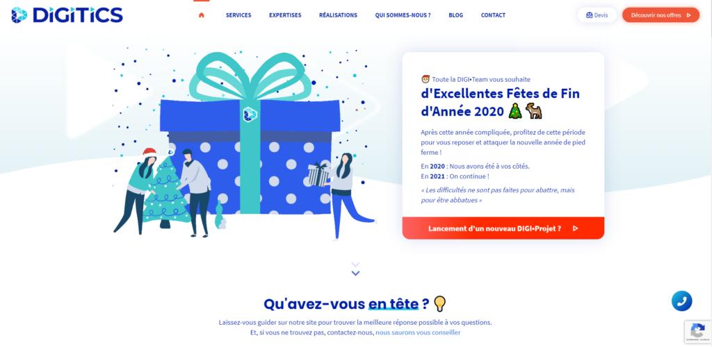 Image de la page d'accueil de digitics.fr