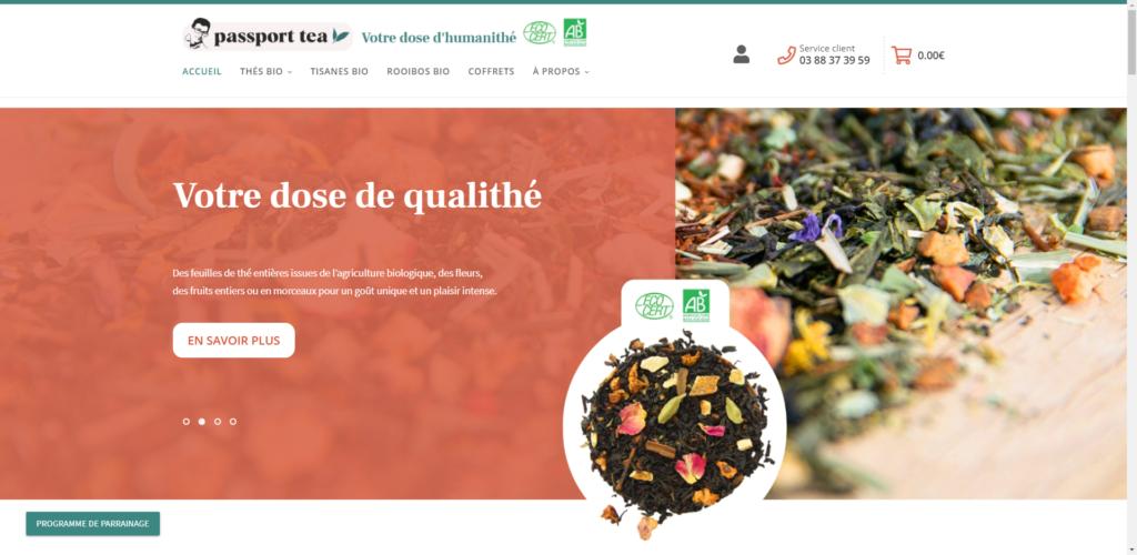 Screenshot de la page d'accueil de passport tea  créer avec WooCommerce