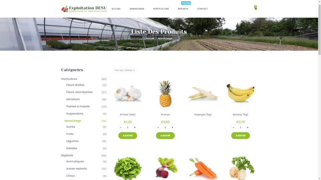 Screenshot de la boutique en ligne de l'Exploitation DENU créer avec WooCommerce
