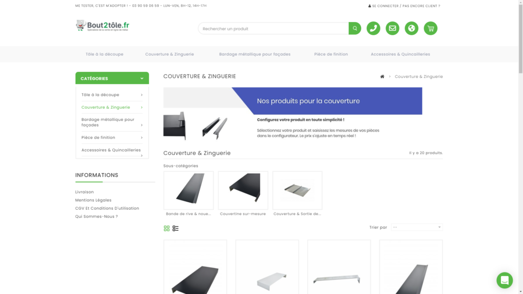 Screenshop de la boutique en ligne de Bout2tôle créée avec Prestashop