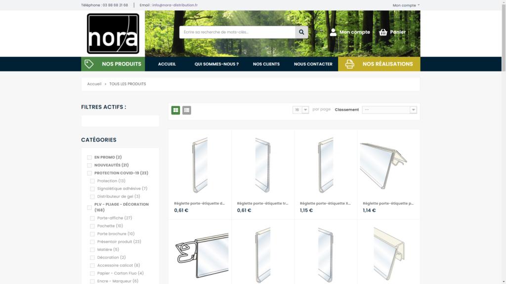 Screenshop de la boutique en ligne de Nora Distribution créée avec Prestashop