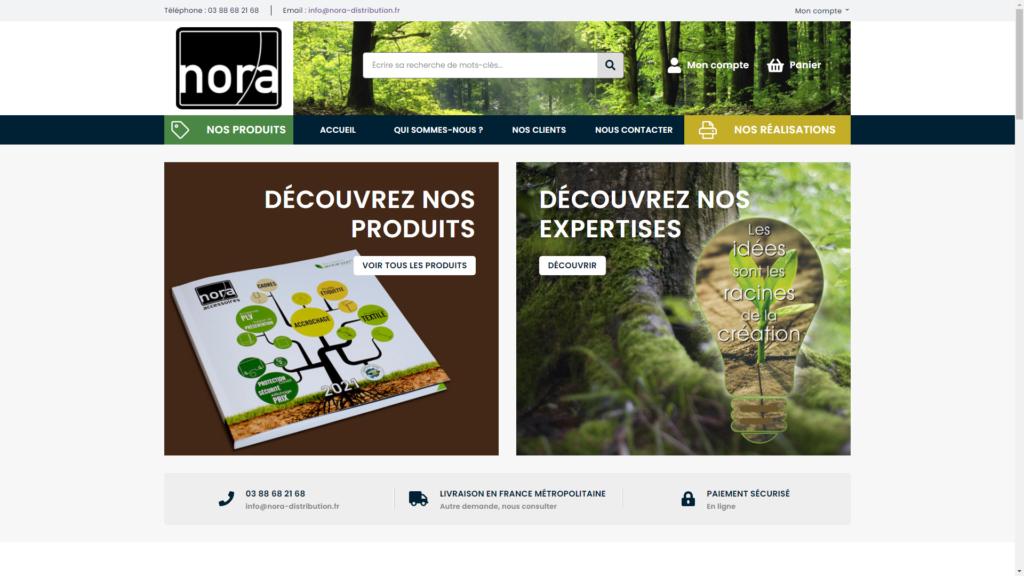 Screenshop de la page d'accueil de Nora Distribution créée avec Prestashop