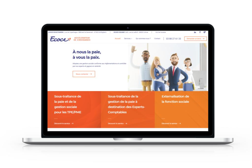 Mockup de la page d'accueil de Ecoce après la refonte du site internet