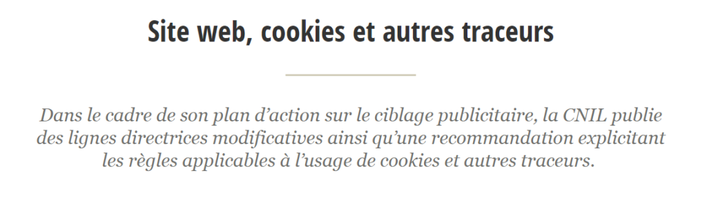 Capture d'écran partielle d'un article sur les cookies de la CNIL