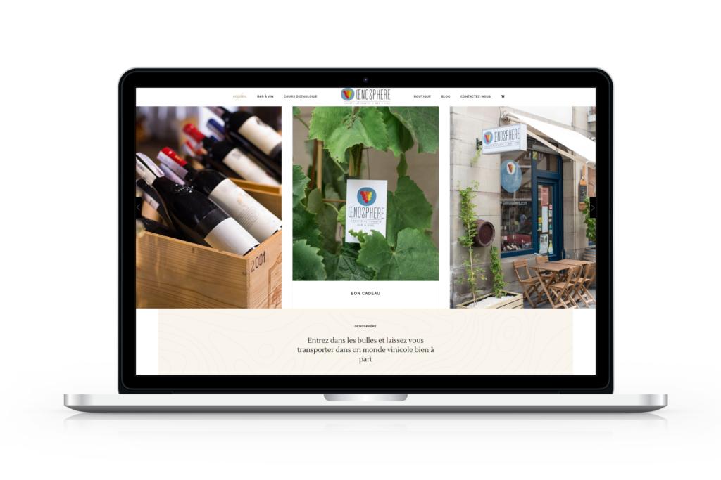 Mockup de la page d'accueil de Oenosphère après la refonte de la boutique en ligne