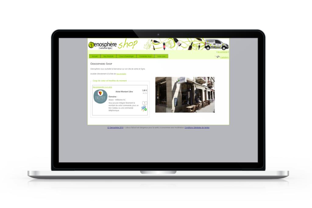 Boutique en ligne de Oenosphère avant la refonte